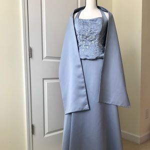 3 Piece Blue Satin halter top, skirt & wrap
